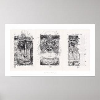 3 kluges Affe-Neujahrsfest-Tierkreis-Plakat Poster