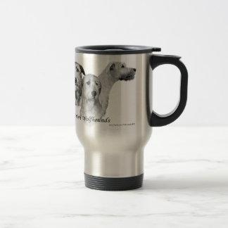 3 Köpfe des irischen Wolfhound Edelstahl Thermotasse