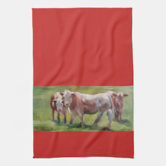 3 Kühe in einer Landschaft Geschirrtuch