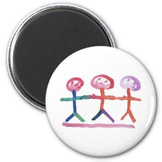 3 Menschen Runder Magnet 5,7 Cm