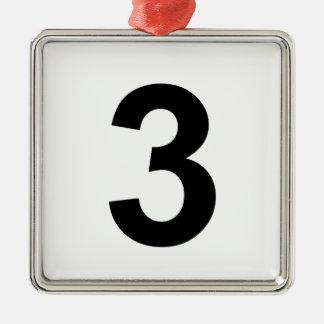 3 - Nr. drei Quadratisches Silberfarbenes Ornament