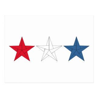 3 Origami Sterne - rot, weiß und Blau Postkarte