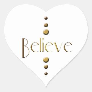 3 Punkt-Goldblock glauben Herz-Aufkleber