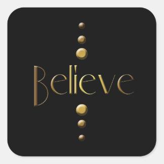 3 Punkt-Goldblock glauben u. schwärzen Hintergrund Quadratischer Aufkleber