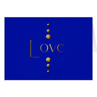 3 Punkt-Goldblock-Liebe u. blauer Hintergrund Karte