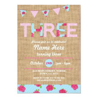 3. Rose des Geburtstags-Tee-Party-drei der Karte