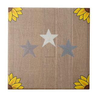 3 Sterne auf Holz Keramikfliese