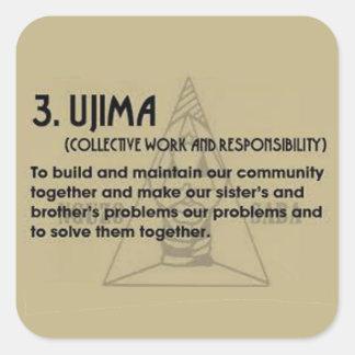 3. UJIMA Kwanzaa Feiertags-Aufkleber Quadratischer Aufkleber