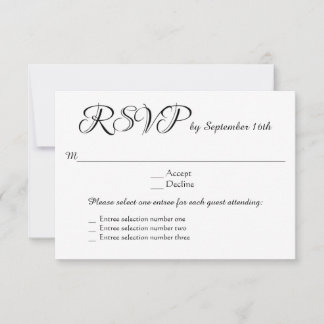 3 Entree Menu Choices Wedding RSVP Response Reply