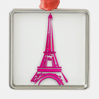 3d Eiffelturm, Frankreich clipart Quadratisches Silberfarbenes Ornament