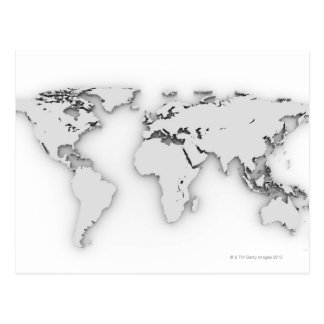3D Weltkarte, computererzeugtes Bild Postkarte