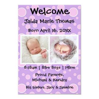 3x5 lila w/Pink Punkt-u. Foto-Geburts-Mitteilung Karte