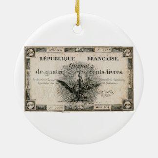 400 Livre-Französische Revolution Assignat Keramik Ornament