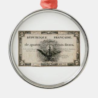 400 Livre-Französische Revolution Assignat Silbernes Ornament