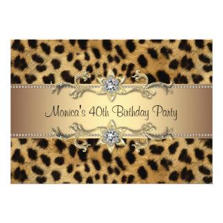 40 der Geburtstags-Party der Leopard-Druck-Frau Individuelle Ankündigungskarte