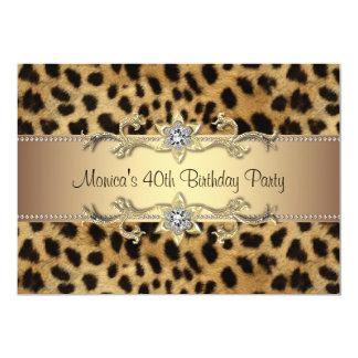 40. der Geburtstags-Party der Leopard-Druck-Frau 12,7 X 17,8 Cm Einladungskarte