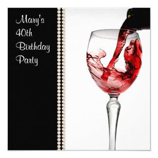 40. der Geburtstags-Party der Rotwein-Frau Quadratische 13,3 Cm Einladungskarte