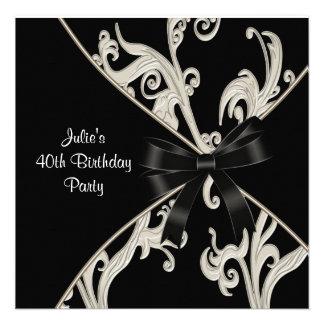 40. der Geburtstags-Party der Schwarz-weißen Personalisierte Einladungen
