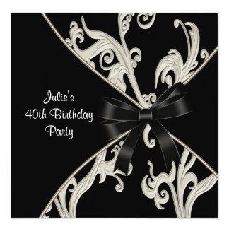 40. der Geburtstags-Party der Schwarz-weißen Einladungskarte