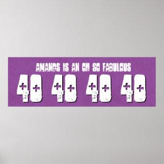 40. Fab Geburtstags-kundenspezifische Fahnelila Posterdrucke
