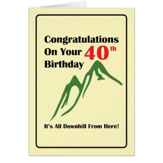 40. Geburtstag aller abschüssig Grußkarte