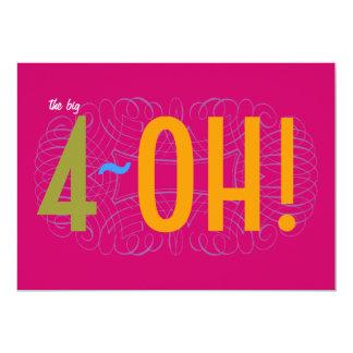 40. Geburtstag - das große 4-OH! 12,7 X 17,8 Cm Einladungskarte