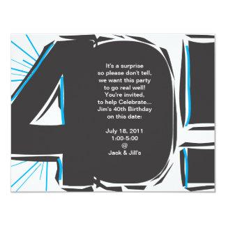 40. Geburtstag laden ein 10,8 X 14 Cm Einladungskarte