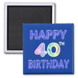 40. Geburtstag mit Ballon-Schriftart Quadratischer Magnet