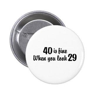 40. Geburtstag Runder Button 5,1 Cm