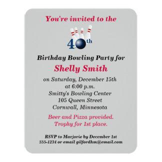 40. Geburtstags-Bowlings-Party Einladung