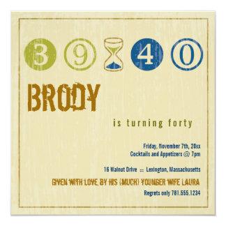 40. Geburtstags-Einladung - fertigen Sie besonders Quadratische 13,3 Cm Einladungskarte