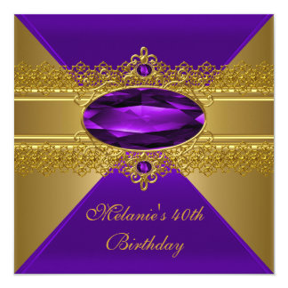 40. Geburtstags-elegante Spitze-lila Gold Karte