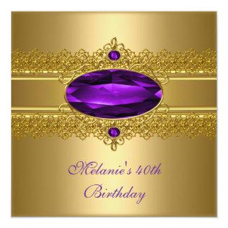 40. Geburtstags-elegante Spitze-lila Gold Quadratische 13,3 Cm Einladungskarte