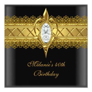 40. Geburtstags-eleganter Quadratische 13,3 Cm Einladungskarte