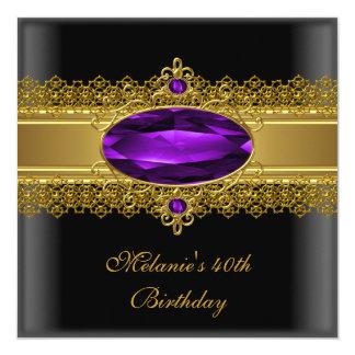 40. Geburtstags-elegantes Spitze-Schwarz-lila Gold Quadratische 13,3 Cm Einladungskarte
