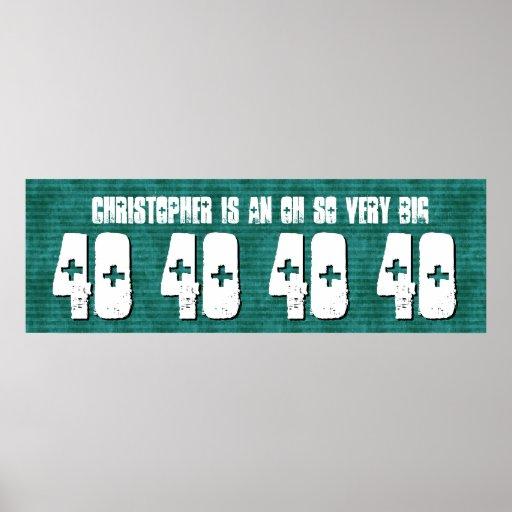 40. Geburtstags-Fahnen-Name-Grün Stripes V04 Poster