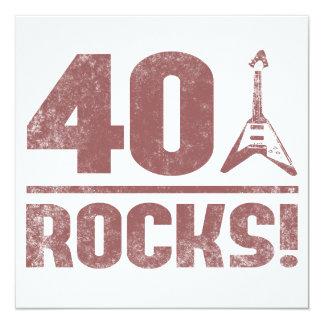 40. Geburtstags-Felsen Quadratische 13,3 Cm Einladungskarte