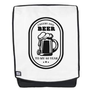 40. Geburtstags-Geschenk-Beifall und Biere zu Rucksack