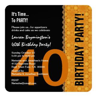 40. Geburtstags-Goldmuster mit Spitze V07Z Quadratische 13,3 Cm Einladungskarte