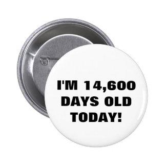 40. Geburtstags-Knopf Runder Button 5,7 Cm