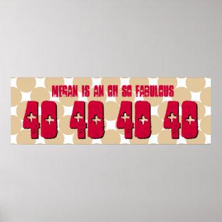 40 Geburtstags-kundenspezifische Fahne TAN kreist Plakat