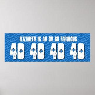 40. Geburtstags-kundenspezifische Fahneblauer Posterdruck
