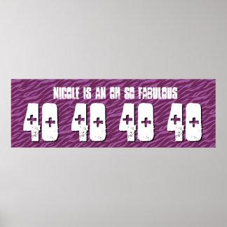 40. Geburtstags-kundenspezifische Fahnelila Zebra Poster