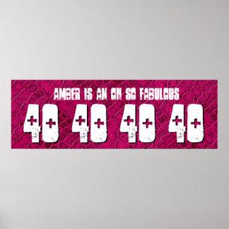 40 Geburtstags-kundenspezifische Fahnen-rotes Plakate