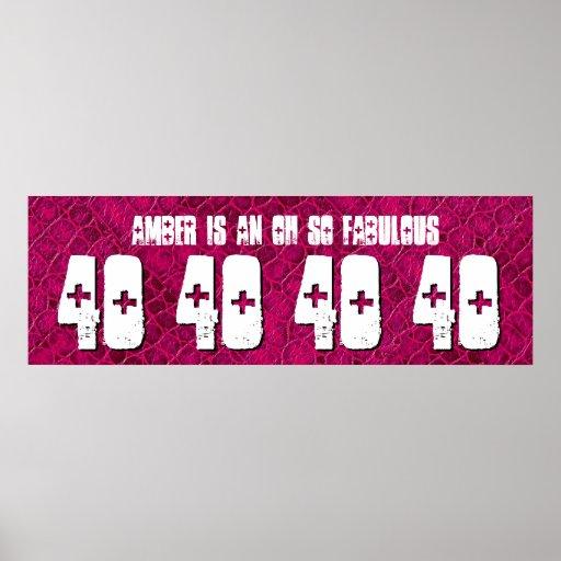 40. Geburtstags-kundenspezifische Fahnen-rotes Plakate