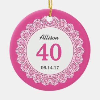 40. Geburtstags-Memento-weiße Spitze L3Z Rundes Keramik Ornament