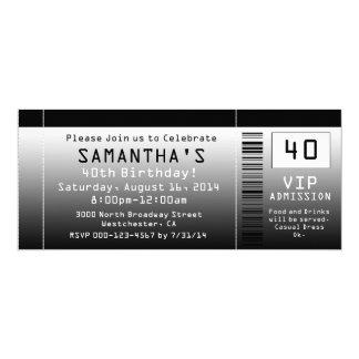 40. Geburtstags-Party Einladung, schwarze Karte