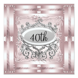 40. Geburtstags-Party Einladungs-Rosa Quadratische 13,3 Cm Einladungskarte