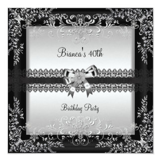 40. Geburtstags-Party-elegantes silbernes Quadratische 13,3 Cm Einladungskarte