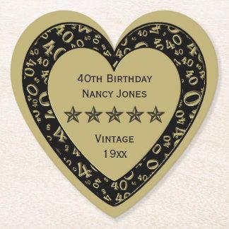 40. Geburtstags-Party-Gold/schwarzes Thema Untersetzer